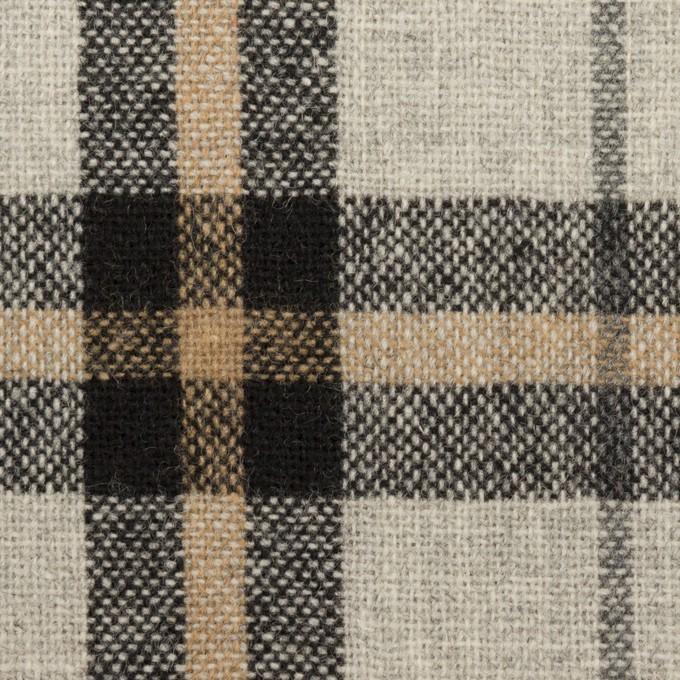 ウール&ポリエステル混×チェック(ライトグレー、ベージュ&ブラック)×ツイードストレッチ イメージ1