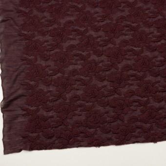 ウール&アクリル混×フラワー(バーガンディー)×天竺ニット刺繍_イタリア製 サムネイル2