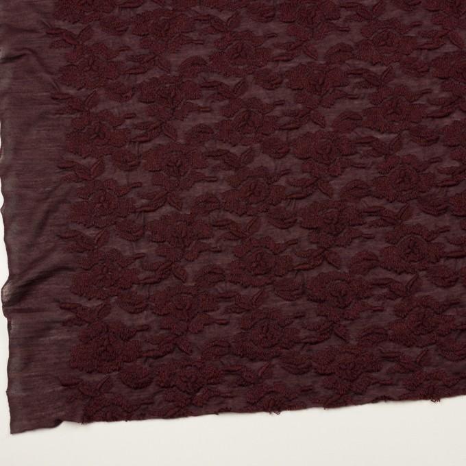 ウール&アクリル混×フラワー(バーガンディー)×天竺ニット刺繍_イタリア製 イメージ2