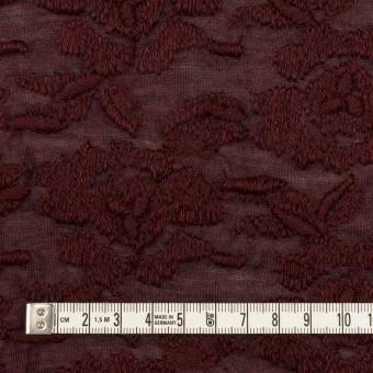 ウール&アクリル混×フラワー(バーガンディー)×天竺ニット刺繍_イタリア製 サムネイル4