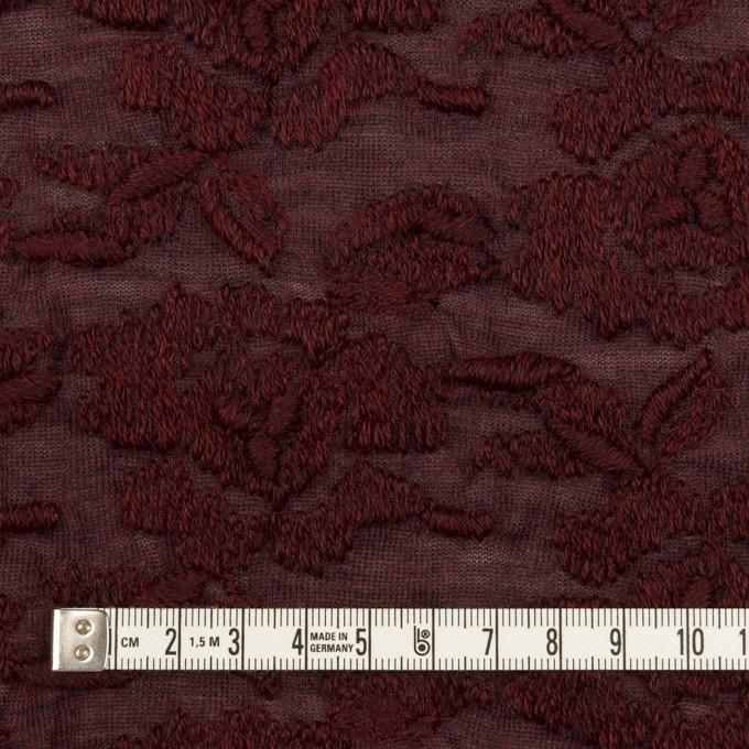 ウール&アクリル混×フラワー(バーガンディー)×天竺ニット刺繍_イタリア製 イメージ4