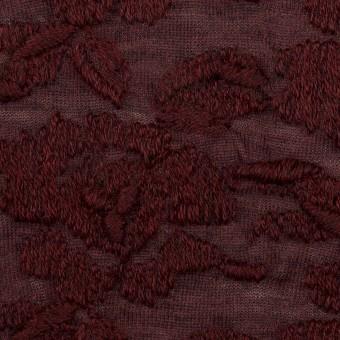 ウール&アクリル混×フラワー(バーガンディー)×天竺ニット刺繍_イタリア製