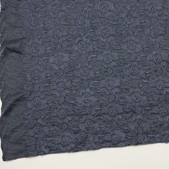 ウール&アクリル混×フラワー(ブルーグレー)×天竺ニット刺繍_イタリア製 サムネイル2