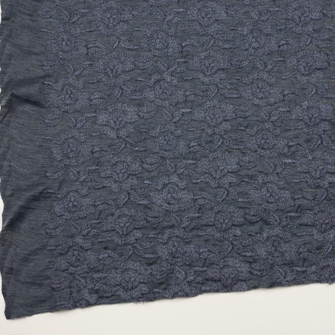 ウール&アクリル混×フラワー(ブルーグレー)×天竺ニット刺繍_イタリア製 イメージ2