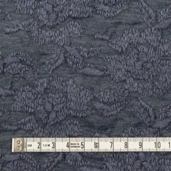 ウール&アクリル混×フラワー(ブルーグレー)×天竺ニット刺繍_イタリア製 サムネイル4