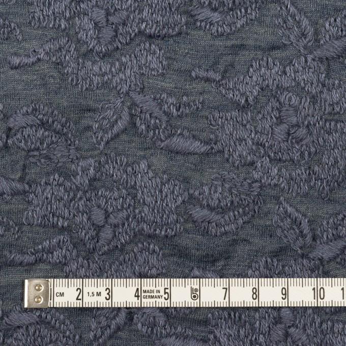 ウール&アクリル混×フラワー(ブルーグレー)×天竺ニット刺繍_イタリア製 イメージ4