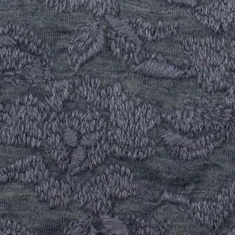 ウール&アクリル混×フラワー(ブルーグレー)×天竺ニット刺繍_イタリア製