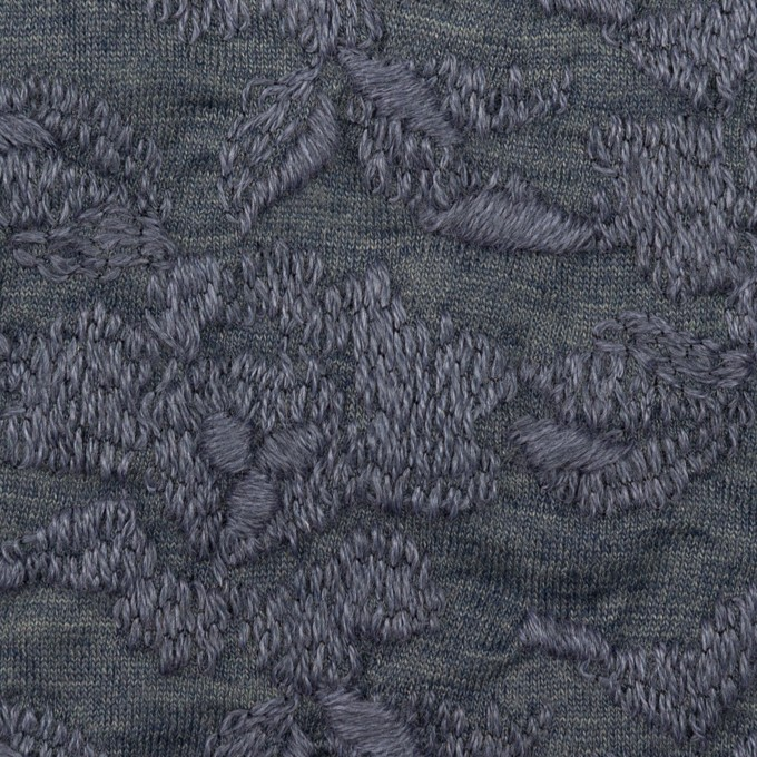 ウール&アクリル混×フラワー(ブルーグレー)×天竺ニット刺繍_イタリア製 イメージ1