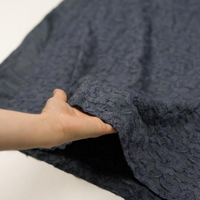 ウール&アクリル混×フラワー(ブルーグレー)×天竺ニット刺繍_イタリア製 イメージ5