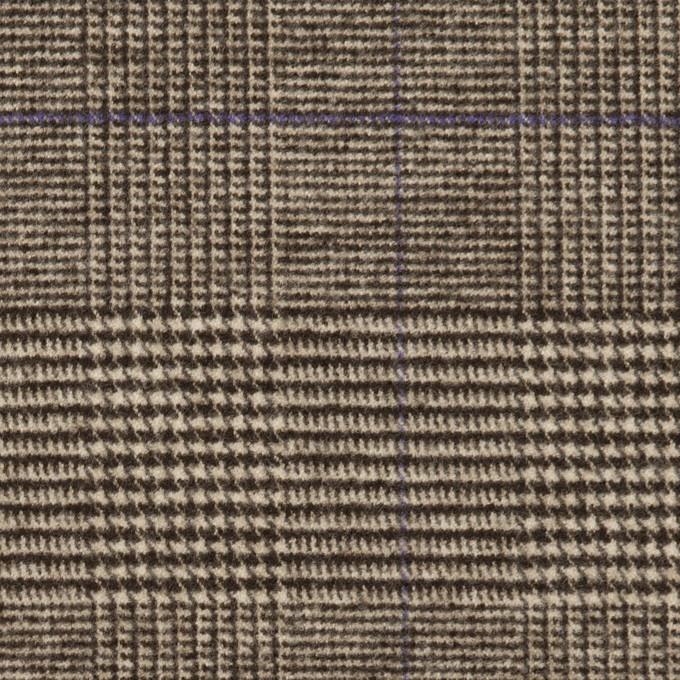 ポリエステル&レーヨン混×チェック(ダークブラウン)×サージストレッチ イメージ1