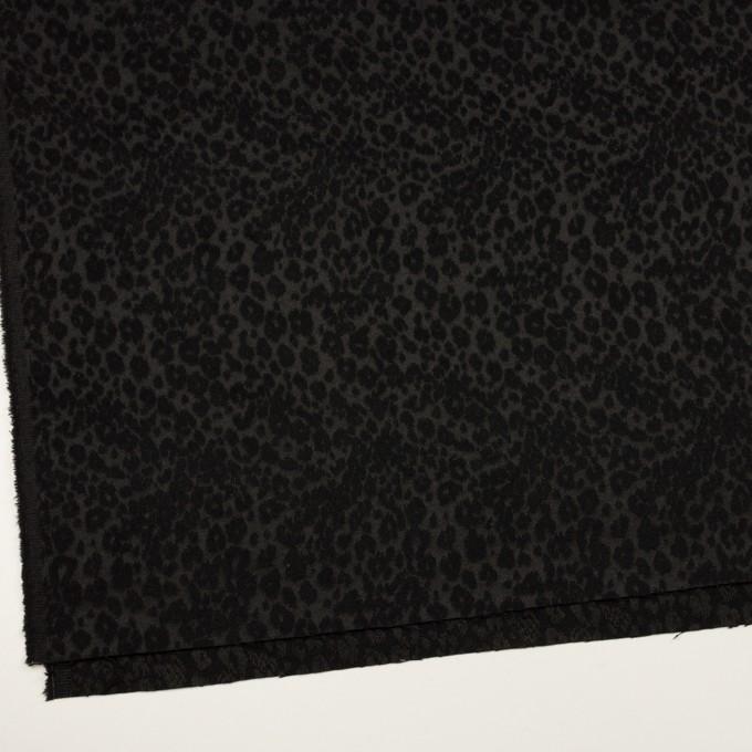 アクリル&ポリエステル×レオパード(ブラック)×サテンジャガード イメージ2