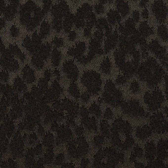 アクリル&ポリエステル×レオパード(ブラック)×サテンジャガード イメージ1