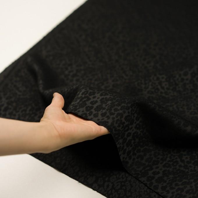 アクリル&ポリエステル×レオパード(ブラック)×サテンジャガード イメージ5