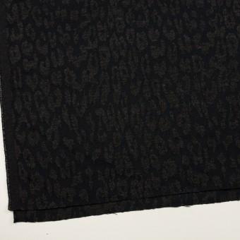 ポリエステル&ウール混×レオパード(チャコールブラック)×二重織ジャガード サムネイル2