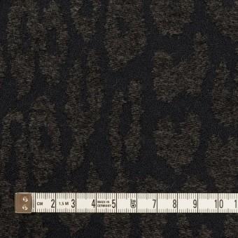 ポリエステル&ウール混×レオパード(チャコールブラック)×二重織ジャガード サムネイル4