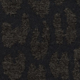 ポリエステル&ウール混×レオパード(チャコールブラック)×二重織ジャガード