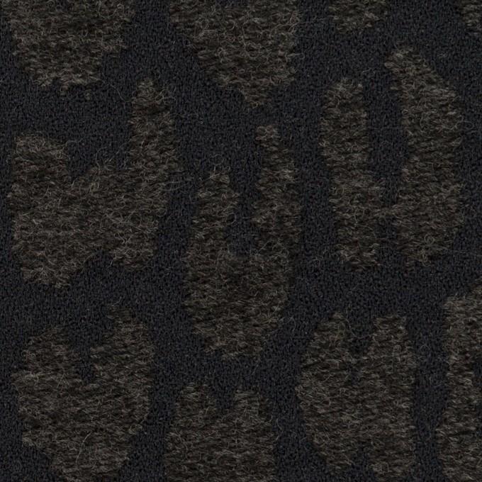 ポリエステル&ウール混×レオパード(チャコールブラック)×二重織ジャガード イメージ1