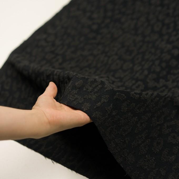 ポリエステル&ウール混×レオパード(チャコールブラック)×二重織ジャガード イメージ5