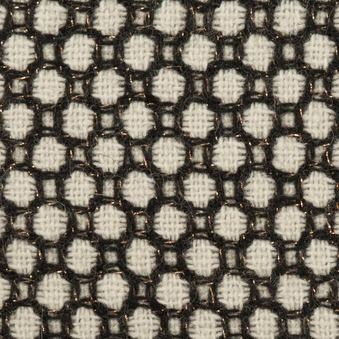 ウール&ポリエステル×サークル(アイボリー&ブラック)×ファンシーツイード イメージ1