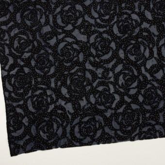 ナイロン&ウール×フラワー(プルシアンブルー&ブラック)×パワーネット・フロッキー サムネイル2