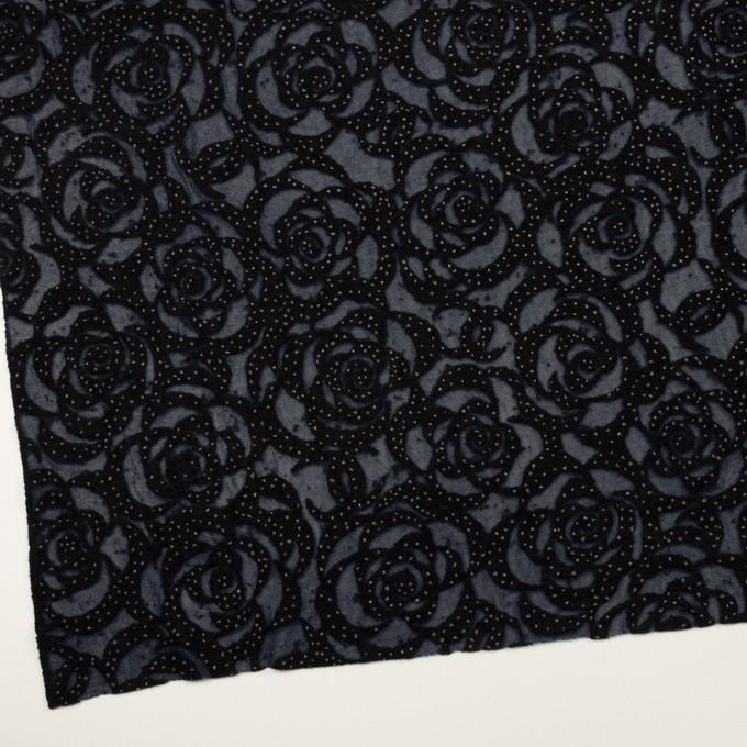 ナイロン&ウール×フラワー(プルシアンブルー&ブラック)×パワーネット・フロッキー イメージ2