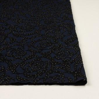 ナイロン&ウール×フラワー(プルシアンブルー&ブラック)×パワーネット・フロッキー サムネイル3
