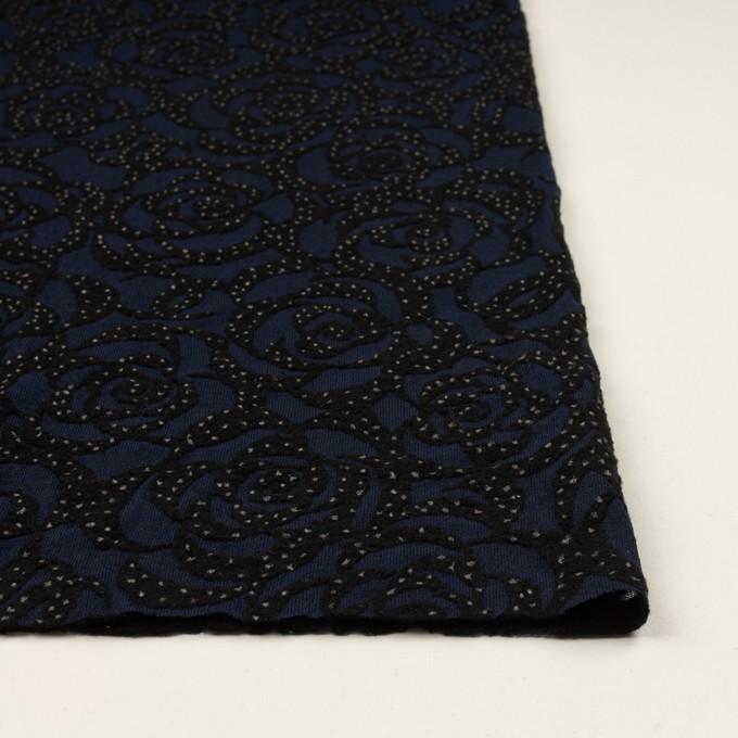 ナイロン&ウール×フラワー(プルシアンブルー&ブラック)×パワーネット・フロッキー イメージ3