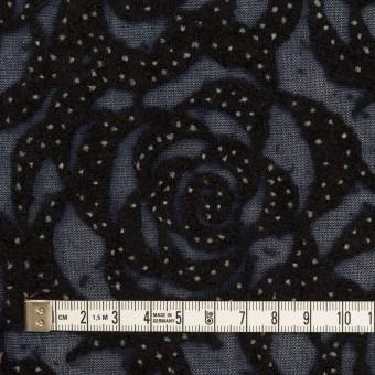 ナイロン&ウール×フラワー(プルシアンブルー&ブラック)×パワーネット・フロッキー サムネイル4