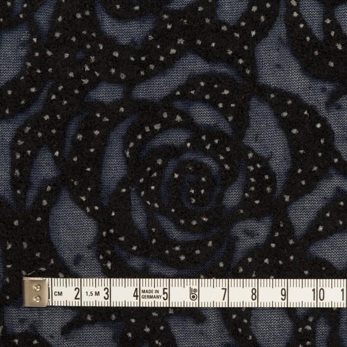 ナイロン&ウール×フラワー(プルシアンブルー&ブラック)×パワーネット・フロッキー イメージ4