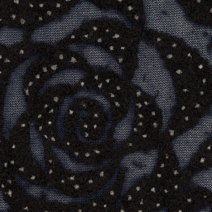 ナイロン&ウール×フラワー(プルシアンブルー&ブラック)×パワーネット・フロッキー イメージ1
