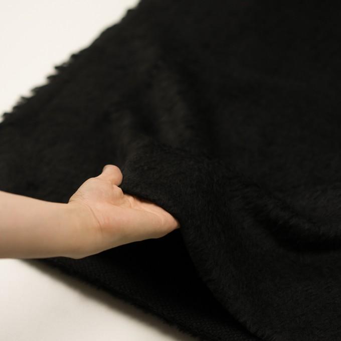ポリエステル&アクリル混×無地(ブラック)×フリースニット_全3色_イタリア製 イメージ5