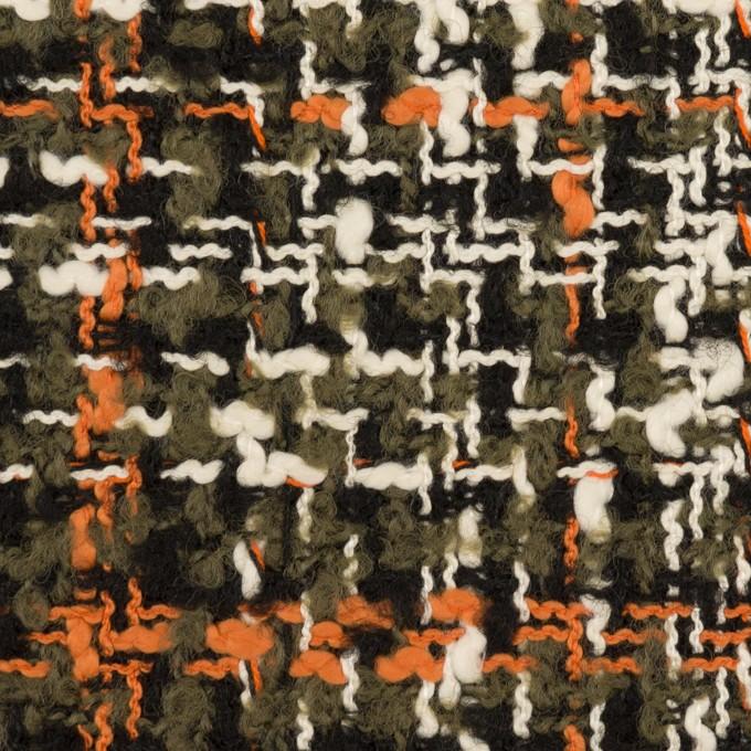 ウール&コットン混×ミックス(カーキグリーン、オレンジ&エクリュ)×ファンシーツイード イメージ1