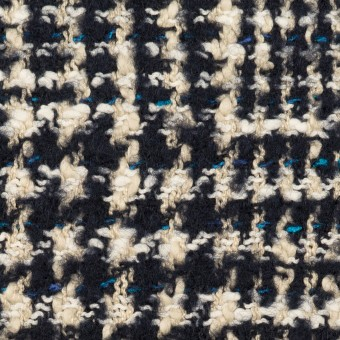 ウール&コットン混×チェック(ネイビー&エクリュ)×ファンシーツイード_全2色