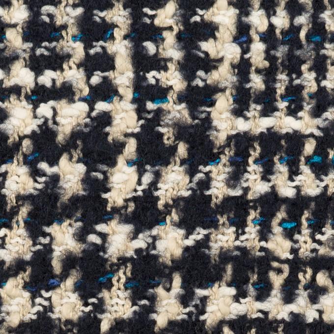ウール&コットン混×チェック(ネイビー&エクリュ)×ファンシーツイード_全2色 イメージ1