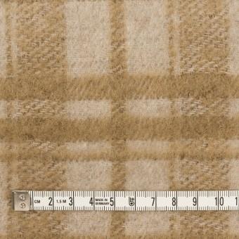 ウール&アクリル混×チェック(ライトベージュ&カーキベージュ)×シャギー サムネイル4