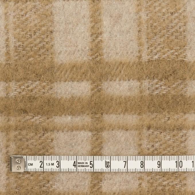 ウール&アクリル混×チェック(ライトベージュ&カーキベージュ)×シャギー イメージ4