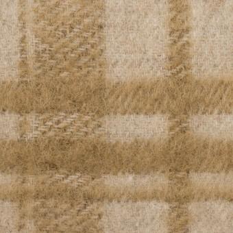ウール&アクリル混×チェック(ライトベージュ&カーキベージュ)×シャギー サムネイル1