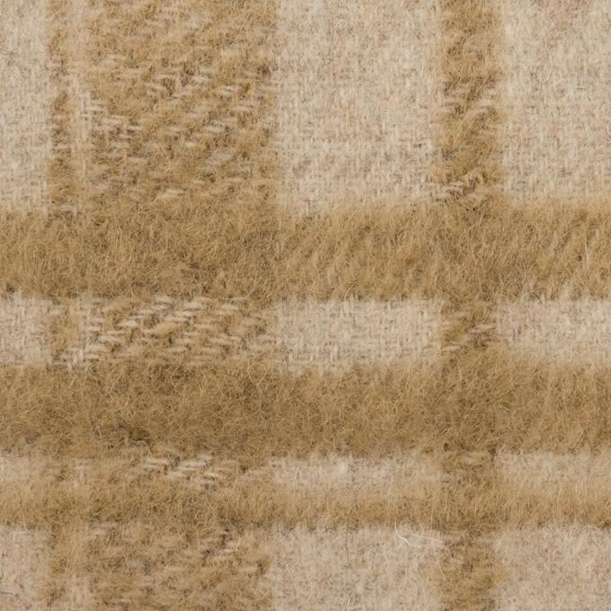 ウール&アクリル混×チェック(ライトベージュ&カーキベージュ)×シャギー イメージ1