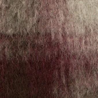 ポリエステル&アクリル混×チェック(レーズン&シルバーグレー)×フリースニット_イタリア製
