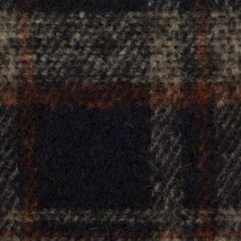 ウール&ポリエステル混×チェック(ダークネイビー、ベージュ&オレンジ)×ファンシーツイード サムネイル1