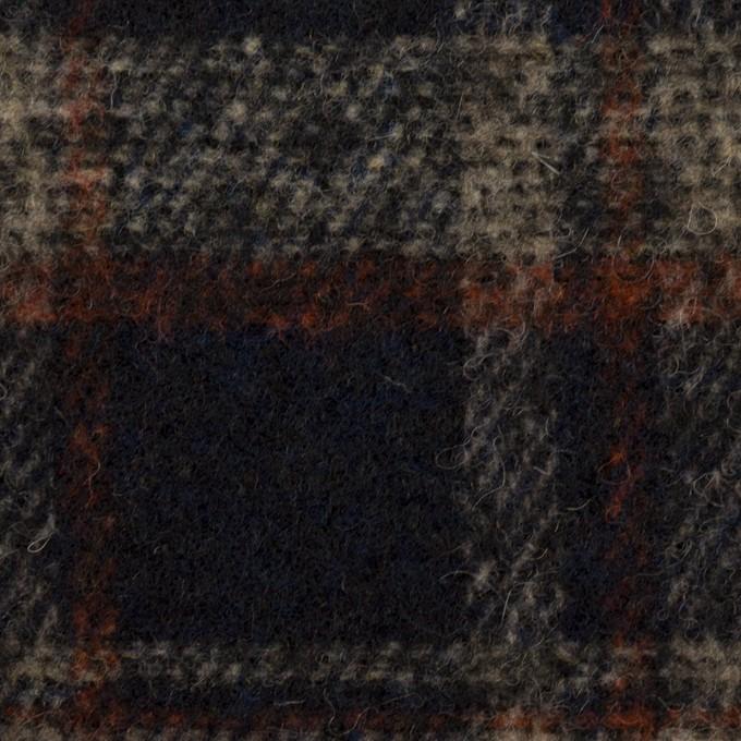 ウール&ポリエステル混×チェック(ダークネイビー、ベージュ&オレンジ)×ファンシーツイード イメージ1