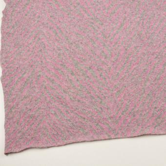 ウール&アンゴラ混×幾何学模様(ピンク&グレー)×ジャガードニット サムネイル2