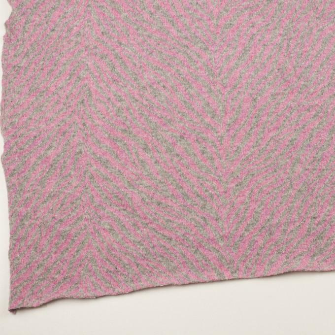 ウール&アンゴラ混×幾何学模様(ピンク&グレー)×ジャガードニット イメージ2