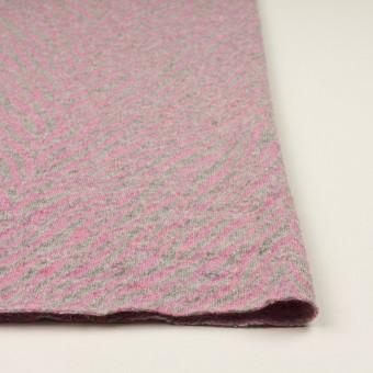 ウール&アンゴラ混×幾何学模様(ピンク&グレー)×ジャガードニット サムネイル3