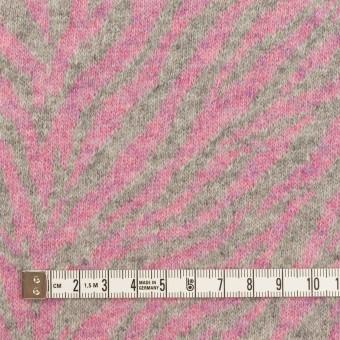 ウール&アンゴラ混×幾何学模様(ピンク&グレー)×ジャガードニット サムネイル4
