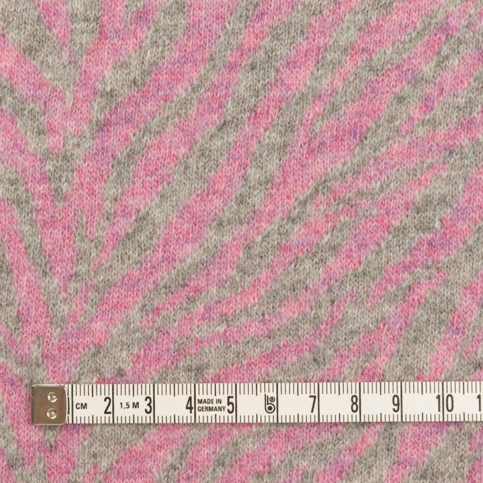 ウール&アンゴラ混×幾何学模様(ピンク&グレー)×ジャガードニット イメージ4