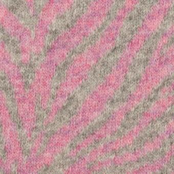 ウール&アンゴラ混×幾何学模様(ピンク&グレー)×ジャガードニット