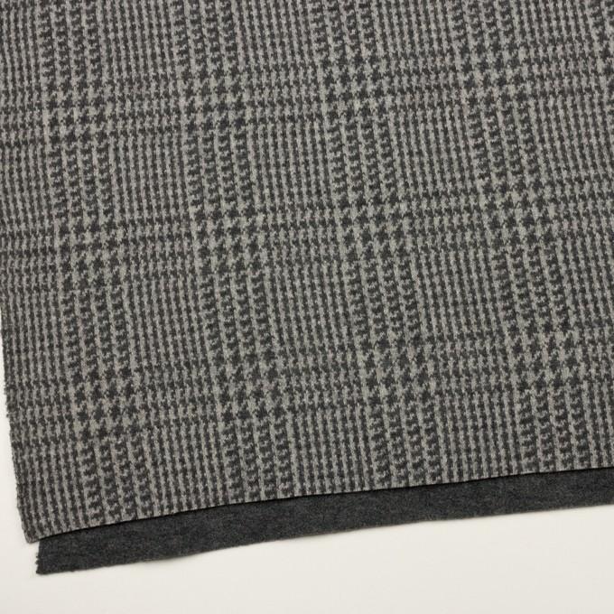 ウール&アクリル混×チェック(グレー&チャコールグレー)×Wニット イメージ2