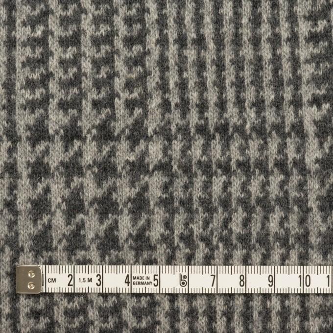 ウール&アクリル混×チェック(グレー&チャコールグレー)×Wニット イメージ4
