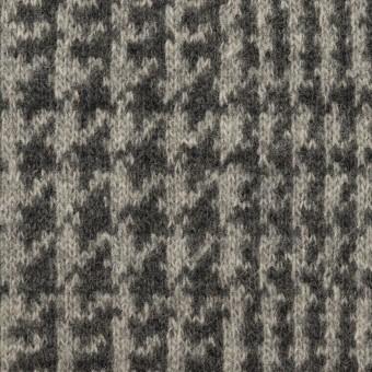 ウール&アクリル混×チェック(グレー&チャコールグレー)×Wニット